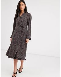 Y.A.S Ruffle Detail Long Sleeve Wrap Dress-brown