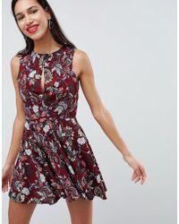 Love Printed Skater Dress - Multicolour