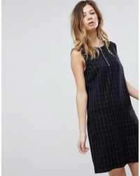 Pieces | Check Shift Dress With Zip | Lyst