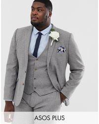 ASOS Plus Wedding Super Skinny Suit Jacket - Gray