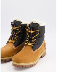 Timberland Ботинки Высотой 6 Дюймов С Подкладкой Из Меха Черного И Пшеничного Цвета -коричневый - Многоцветный