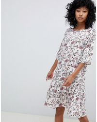 Ichi - Floral Drop Waist Dress - Lyst