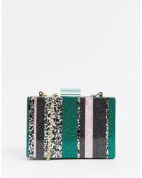 ASOS Marble Boxy Clutch Bag In Glitter Colourblock - Green