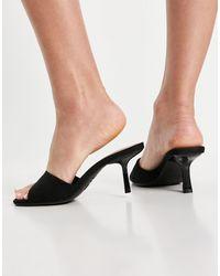 New Look Черные Мюли На Каблуке С Квадратным Носком Из Ткани Под Замшу -черный Цвет