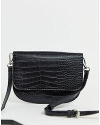 Pieces Croc Cross Body Bag - Black