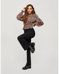 Miss Selfridge Petite Flared Pants - Black