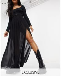 Collusion Sheer Pleated Maxi Skirt With Slit - Black