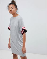 ASOS - Design T-shirt Dress In Gray Marl With Frill Tipped Sleeve - Lyst
