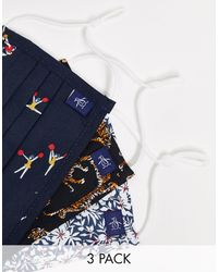 Original Penguin – 3er-Pack Mundschutz mit mehrfarbigem Tiger-/Cheerleader-/Blumen-Print - Blau