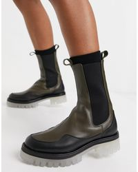 ASOS Admire Premium Leather Chunky Chelsea Boots - Green