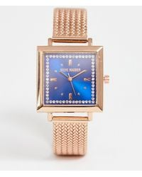 Steve Madden - Womens Square Watch With Blue Dial - Lyst