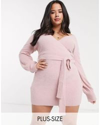 Skylar Rose Plus Knitted Mini Wrap Dress-pink
