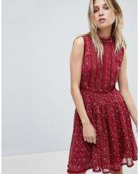 AllSaints - Lace Mix Mini Dress In Floral Print - Lyst