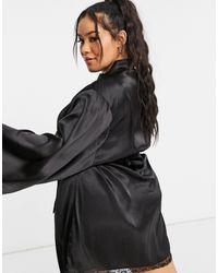 Brave Soul Plus Satin Kimono Robe - Black
