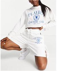 Missguided Белые Шорты С Вафельной Фактурой От Комплекта Playboy Sports-белый