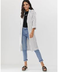 Monki Stripe Lightweight Coat - White
