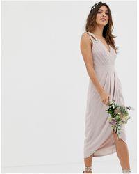 TFNC London Bridesmaid Exclusive Wrap Midi Dress - Brown