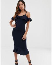 AX Paris Halflange Bodycon-jurk Met Peplum - Blauw