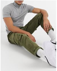 New Look Cord Cargo Trouser With Elastic Waist - Green