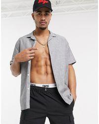 ASOS Oversized Linen Shirt With Revere Collar - Gray