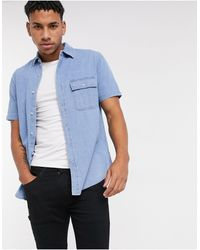 TOPMAN Short Sleeve Denim Shirt - Blue