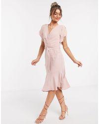 Forever New Пудрово-розовое Платье С Асимметричной Юбкой И Пышными Рукавами -розовый