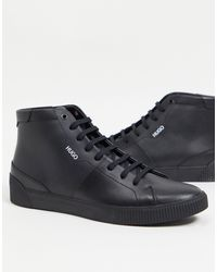 HUGO Черные Высокие Кожаные Кроссовки Zero Hito-черный Цвет