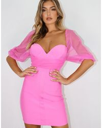 Missguided Mesh Dress With Ruching - Pink