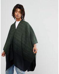 ASOS Asos Cape In Khaki To Black Ombre Design - Green