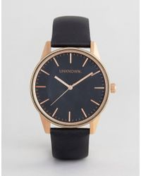 Unknown - Classic Leather Watch In Black & Rose Gold - Lyst