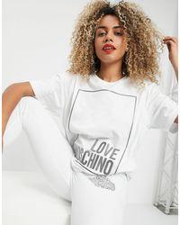 Love Moschino Белая Футболка С Логотипом Металлик -белый