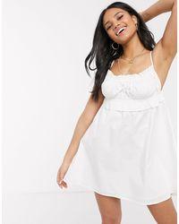 Skylar Rose Свободное Хлопковое Платье Мини С Пышной Юбкой -белый