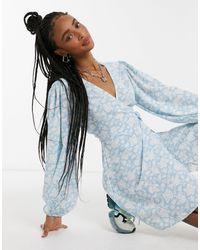 Glamorous Платье Мини С Запахом И Объемными Рукавами -синий