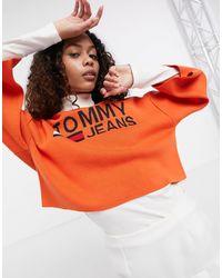Tommy Hilfiger Logo Collegiate Cropped Sweater - Orange