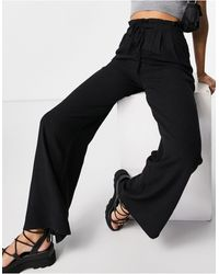 Pull&Bear Drawstring Linen Trousers - Black