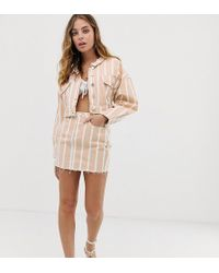 Missguided Co-ord Denim Skirt In Blush Stripe - Pink