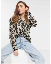 TOPSHOP Top oversize à imprimé léopard - Marron