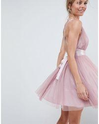 ASOS - Premium Tulle Mini Prom Dress With Ribbon Ties - Lyst
