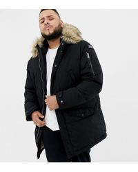 Schott Nyc Lincoln 18x Quilted Hooded Parka Jacket With Detachable Faux Fur Trim In Black