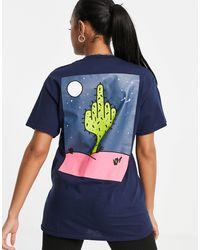 New Love Club Oversized T-shirt With Midnight Cactus Graphic Back Print - Blue