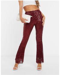 Club L London Pantalones plisados - Rojo