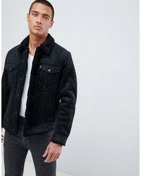 Levi's Черная Кожаная Куртка С Меховой Подкладкой - Черный