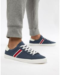 Pull&Bear - Canvas Trainer With Side Stripe In Navy - Lyst
