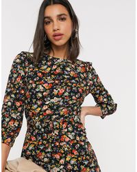 Warehouse Floral Print Belted Mini Dress - Multicolor