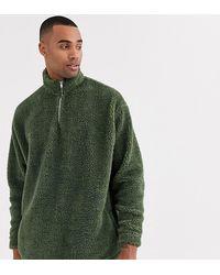 ASOS Tall - Sweat-shirt oversize duveteux imitation peau - Vert