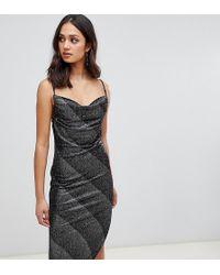 Miss Selfridge Slip Dress With Cowl Neck In Silver - Metallic