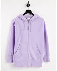 Monki Сиреневый Худи Из Смесового Органического Хлопка С Молнией Спереди Joa-фиолетовый Цвет - Пурпурный