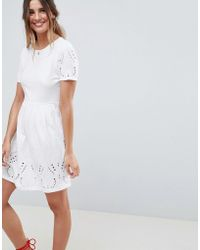 338ed1de49a1 ASOS Cross Front Scuba Skater Dress in White - Lyst