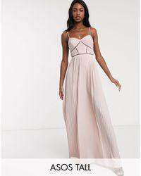 ASOS Vestido largo rosa pastel