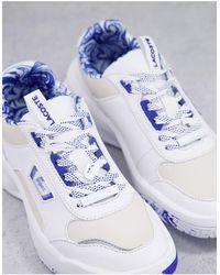 Lacoste Бело-синие Кожаные Кроссовки На Массивной Подошве С Мраморным Принтом Ace Lift-белый